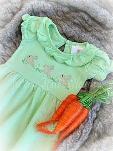 Baby Girl SS Layette Gown Easter Egg Green