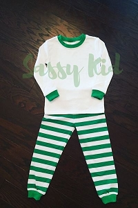 Christmas Pajama Green & White Stripe