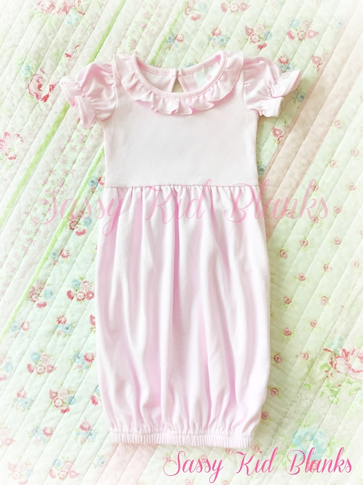 Baby Girl SS Layette Gown Pastel Pink