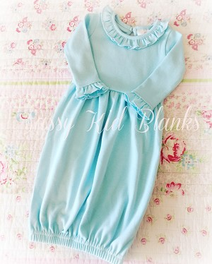Pale Turquoise Sassy Baby Girl Layette Gown
