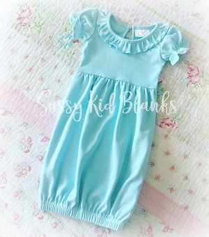 Pale Turquoise Sassy Girl Baby Layette Short Sleeve