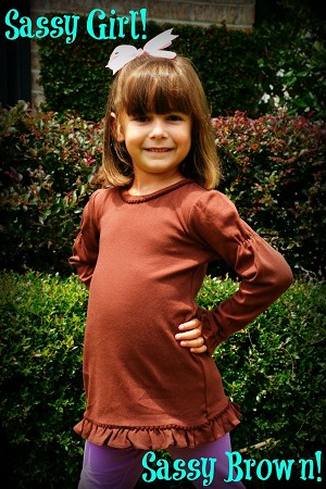 Girls Brown Long Sleeve Shirt